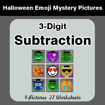 Halloween Math: 3-Digit SUBTRACTION - Color-By-Number Math Mystery Pictures