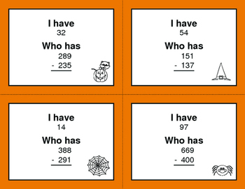 Halloween Math: 3-Digit Subtraction - I Have, Who Has