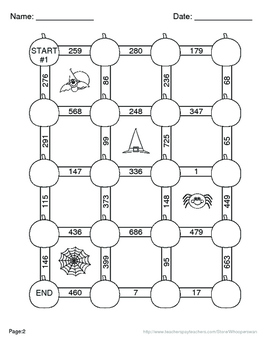 Halloween Math: 3-Digit Subtraction Maze