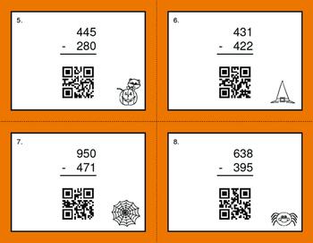 Halloween Math: 3-Digit Subtraction QR Code Task Cards