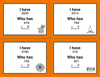 Halloween Math: 3-Digit and 1-Digit Multiplication - I Have, Who Has