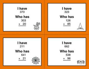 Halloween Math: 3-Digit and 2-Digit Addition - I Have, Who Has