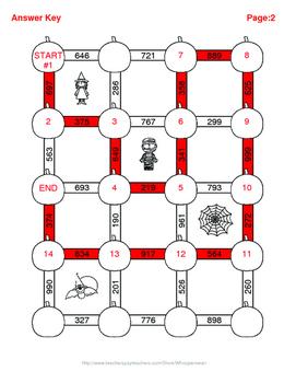 Halloween Math: 3-Digit and 2-Digit Addition Maze