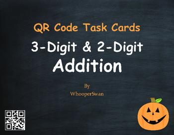 Halloween Math: 3-Digit and 2-Digit Addition QR Code Task Cards