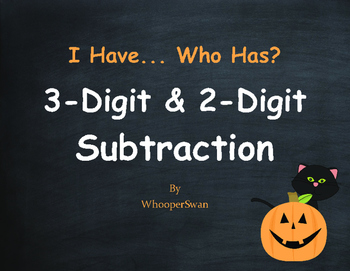 Halloween Math: 3-Digit and 2-Digit Subtraction - I Have, Who Has
