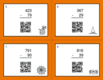 Halloween Math: 3-Digit and 2-Digit Subtraction QR Code Task Cards