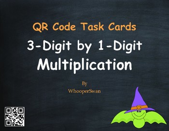 Halloween Math: 3-Digit by 1-Digit Multiplication QR Code Task Cards
