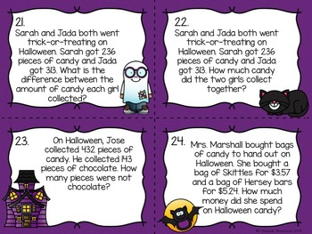 Halloween Math Game 3-digit Addition and Subtraction