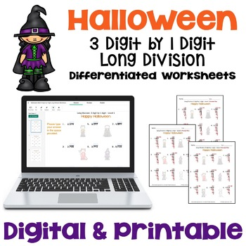 Halloween Long Division Worksheets - 3 digit by 1 digit  (3 Levels)