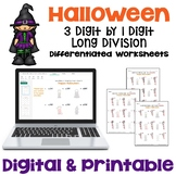 Halloween Math Long Division Worksheets - 3 digit by 1 digit (Differentiated)