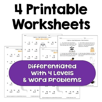 Halloween Multiplication Worksheets - 2 digit by 1 digit  (3 Levels)