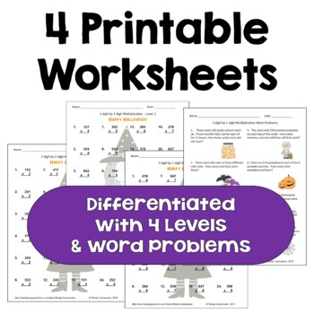 Halloween Math Multiplication Worksheets - 3 digit by 1 digit (Differentiated)