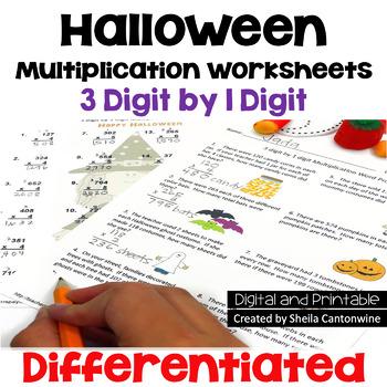 Halloween Multiplication Worksheets - 3 digit by 1 digit (