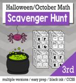 Halloween Math 3rd Grade Scavenger Hunt Game Bundle