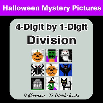 Halloween Math: 4-Digit by 1-Digit Division - Color-By-Number Math Mystery Pictures