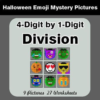 Halloween: 4-Digit by 1-Digit Division - Color-By-Number Math Mystery Pictures