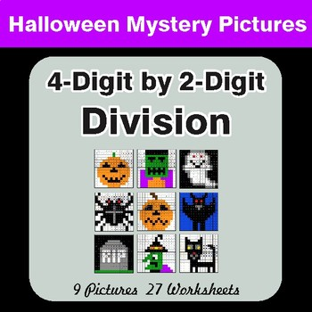 Halloween Math: 4-Digit by 2-Digit Division - Color-By-Number Math Mystery Pictures