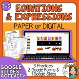 Halloween Math 4th, 5th Evaluating Expressions Equations G