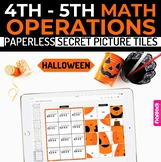 Halloween Math 4th-5th Paperless Google Slides PowerPoint Secret Picture Tiles