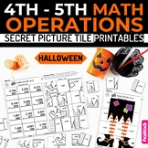 Halloween Math 4th-5th Secret Picture Tile Printables