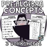 Halloween Math 4th & 5th grade algebra skills  Evaluating Expressions, Equations