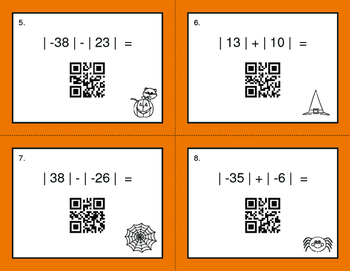Halloween Math: Absolute Value - Addition & Subtraction QR Code Task Cards