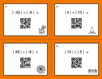 Halloween Math: Absolute Value - Multiplication & Division QR Code Task Cards