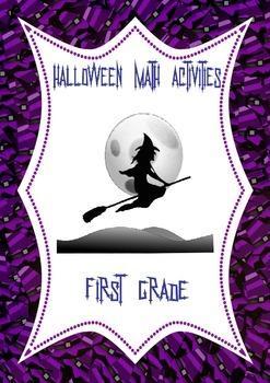 Halloween Math Activities: 1st Grade Task Cards