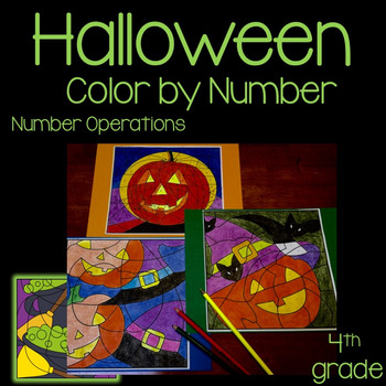 Halloween Math Activity 3rd-5th Grade Color by Number