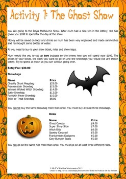 Halloween Math Activities: Budgeting Activity (3rd 4th)