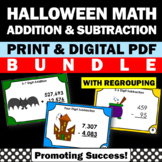 Halloween Math Activities Games BUNDLE Addition and Subtraction with Regrouping