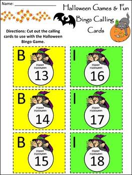Halloween Math Activities: Halloween Bingo Game Activity Packet