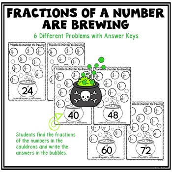 Halloween Math Activities for 5th Grade | Multiplying Fractions by Whole Numbers