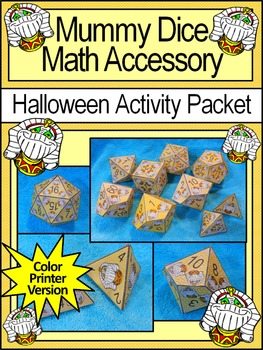 Halloween Math Activities: Mummy Dice Templates Halloween Math Center
