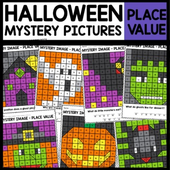 Mystery Pictures PLACE VALUE | Halloween Math Activities | Math Worksheets