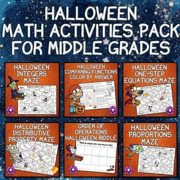 Halloween Math Activities Pack for Middle Grades