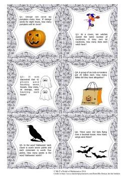 Halloween Math Activities: Word Problems 4th