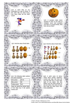 Halloween Math Activities: Word Problems 4th (2015 edition)