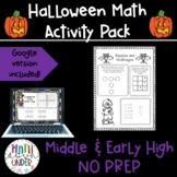 Halloween Math Activities and Puzzles! Middle school no prep
