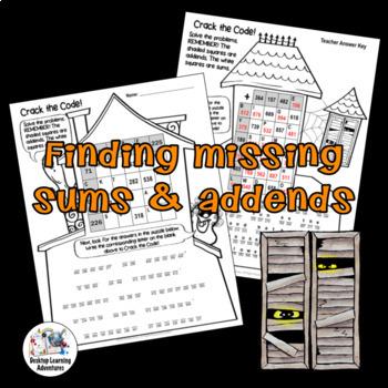 Halloween Math Activity - 3-Digit Addition Subtraction Crack the Code