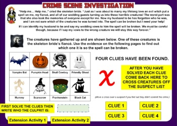 Halloween Math Activity: CSI Math - The Skeleton Bride. Happy Halloween!
