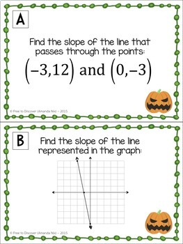 Halloween Math Activity - Calculating Rate of Change