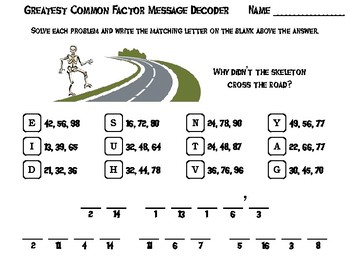 Halloween Math Activity: Greatest Common Factor Message Decoder
