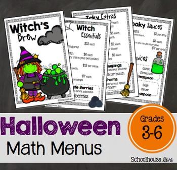 Halloween Math - Math Menus (3rd - 6th)