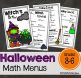Halloween Math - Math Menus (3rd - 6th)