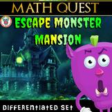 Escape Monster Mansion Math Quest- Escape Room Math Review