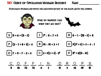 Halloween Math Activity: Order of Operations Message Decoder