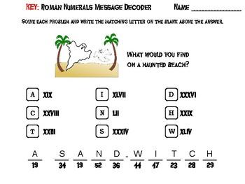 Halloween Math Activity: Roman Numerals Message Decoder
