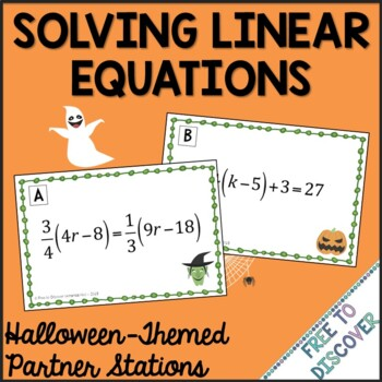 Halloween Math Activity - Solving Linear Equations