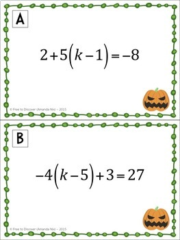 Halloween Math Activity - Solving Linear Equations